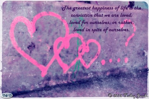 A digital art picture showing a quote about love.